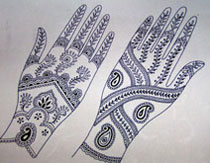 Henna paintings on hands